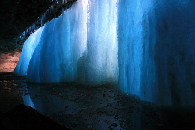 Frozen Falls. Inside Minnehaha Falls - Minneapolis, MN.
