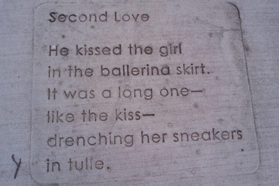 Sidewalk Observations: Second Love. He kissed the girl in the ballerina skirt. It was a long one - like the kiss - drenching her sneakers in tulle.