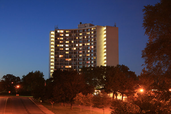 Apartment building at night. St Paul, MN
