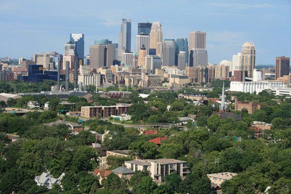 The view of Minneapolis from on top of the Bunge Grain Elevator.